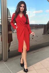 Платье запах красное