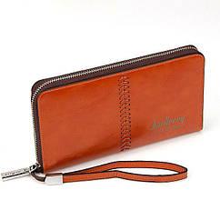 Клатч чоловічий Гаманець портмоне Baellerry Leather Model 1 W009 Orange Помаранчевий