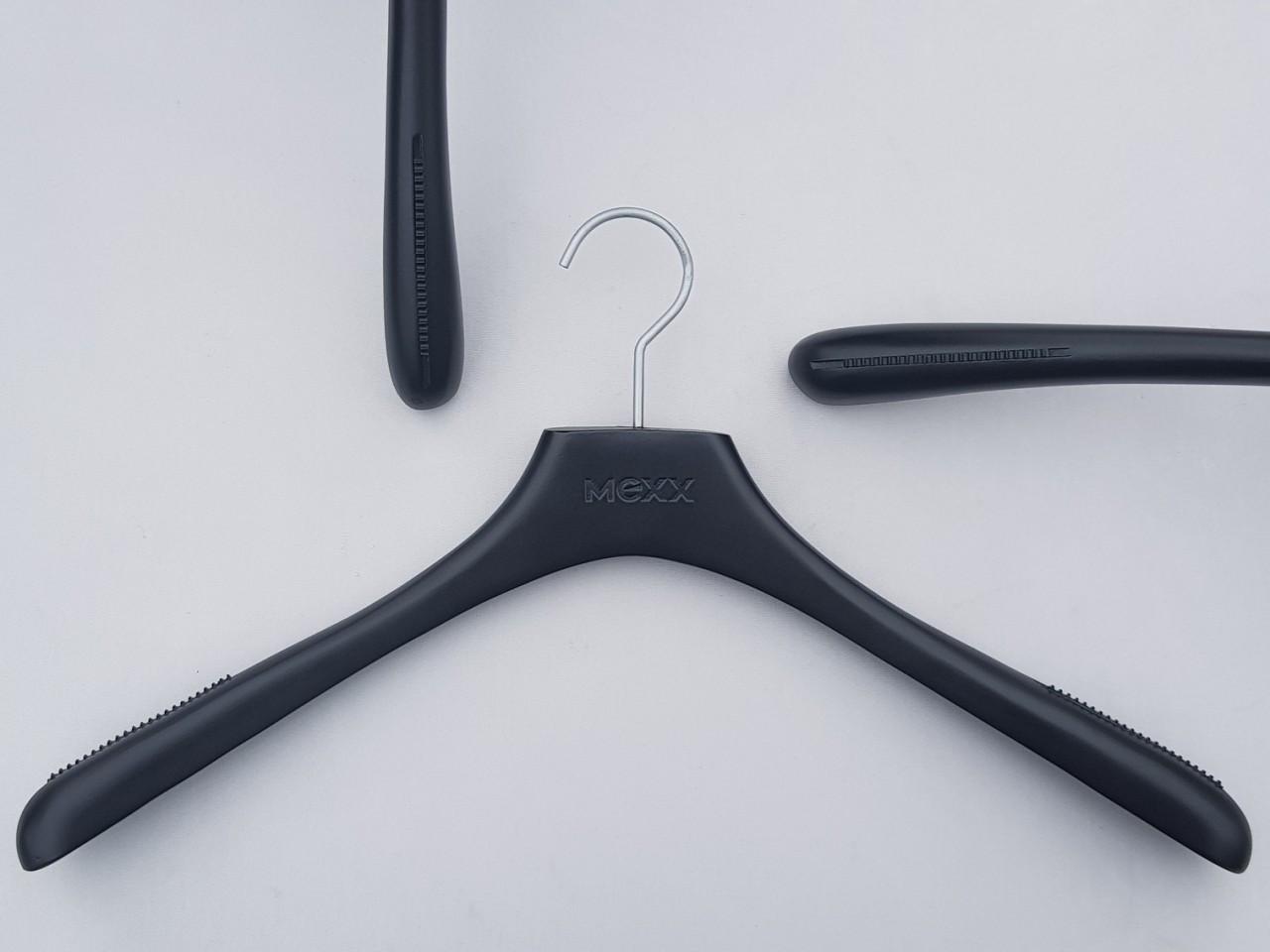 Плечики вешалки деревянные Mexx с антискользящей резинкой, черного цвета, длина 46 см