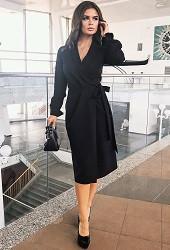 Платье запах черное