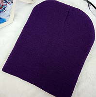 Детская вязанная демисезонная шапка фиолетовый