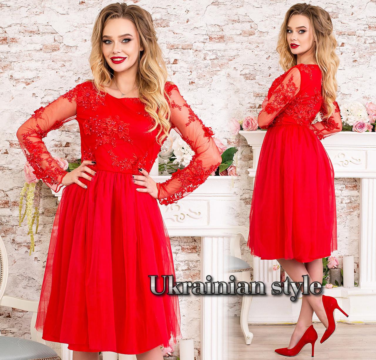 b99161971656afc Красное вечернее платье миди, расшитое жемчугом. : продажа, цена в ...