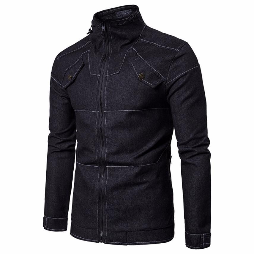 23147b9e444d560 Стильная мужская куртка! Черная джинсовая куртка рубашка на молнии! -  Интернет-магазин