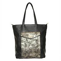 Женская сумка на каждый день в черном цвете с золотой вставкой
