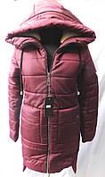 Куртка женская стеганая зимняя на меху 137 бордо оптом, фото 1