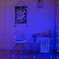Светодиодная гирлянда штора водопад LED 240 лампочек с коннектором: размер 3х2м, синий цвет