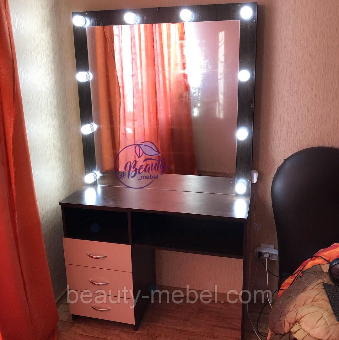 Гримерный столик с зеркалом и тумбой сбоку