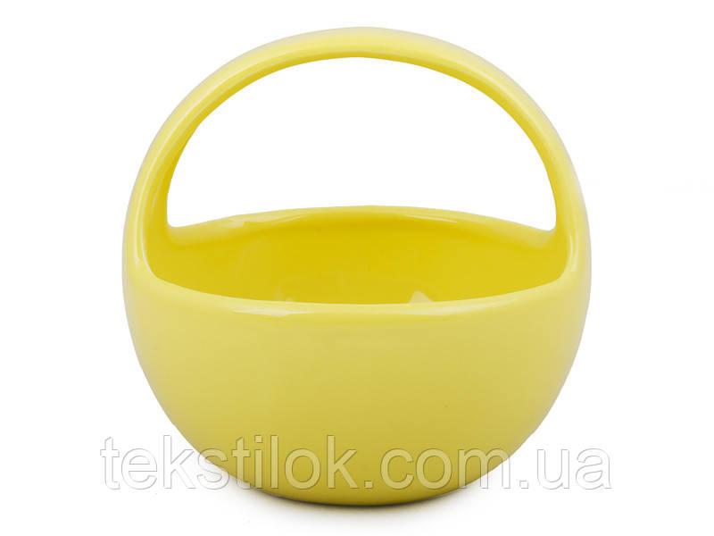 Конфетница желтая -  керамическая