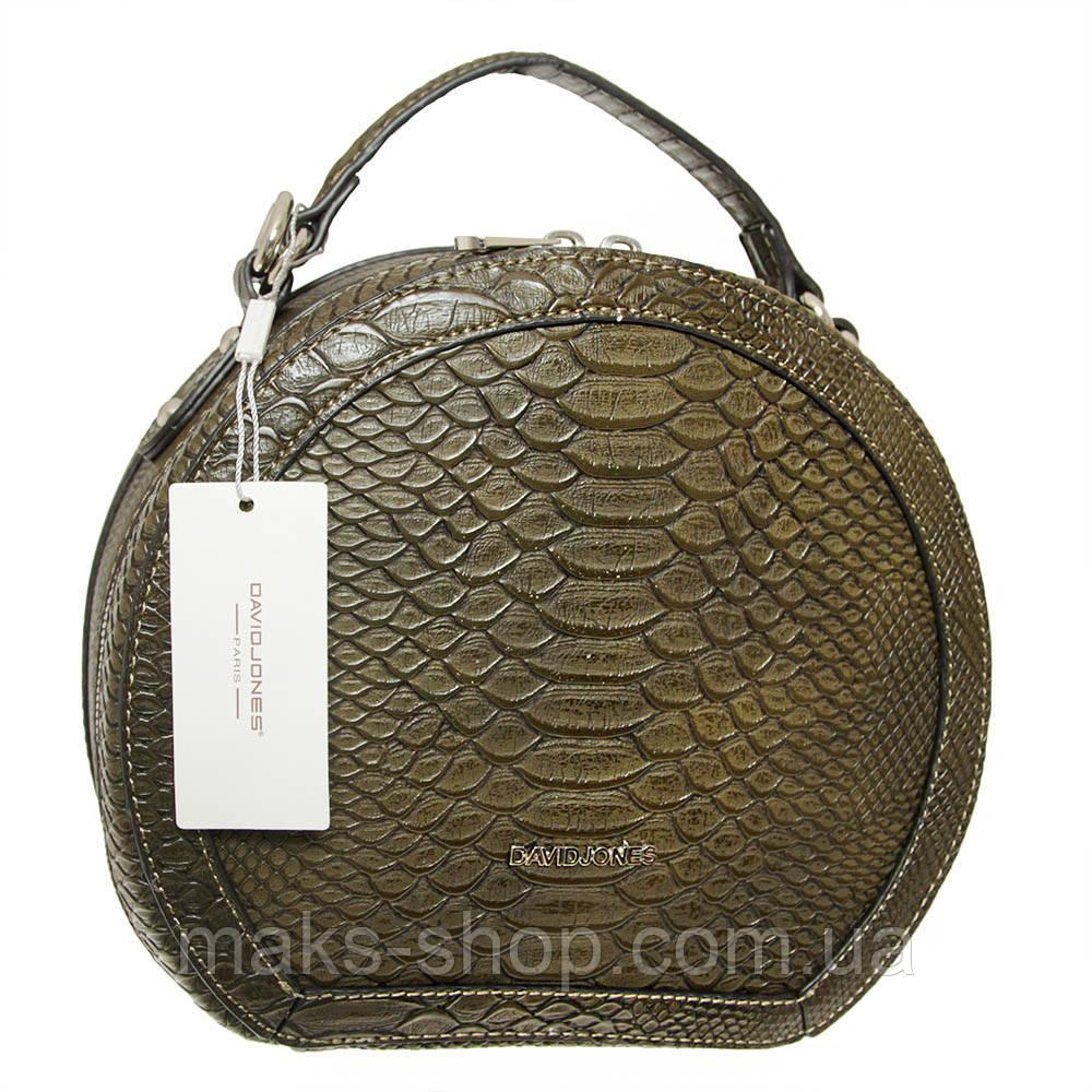 1b7ddf430fd5 Женская круглая сумка из экокожи под питона David Jones CM3250 Хаки - Maks  Shop- надежный
