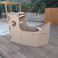 Картонный корабль-раскраска для детей