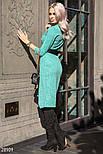 Трикотажное платье на запах зеленого цвета с контрастным поясом, фото 2