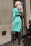 Трикотажное платье на запах зеленого цвета с контрастным поясом, фото 3