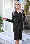 Облегающее платье-миди черного цвета с поясом, фото 2