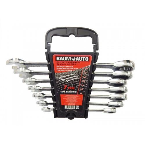 Набор ключей комбинированных трещоточных 7пр. (8,10,12-14,17,19мм) в пласт. держателе