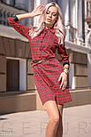 Красное платье-мини в клетку с поясом, фото 2