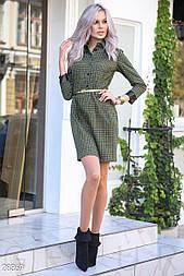 Платье-мини в клетку с поясом цвета хаки