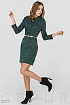 Зеленое платье-мини в клетку с поясом, фото 2