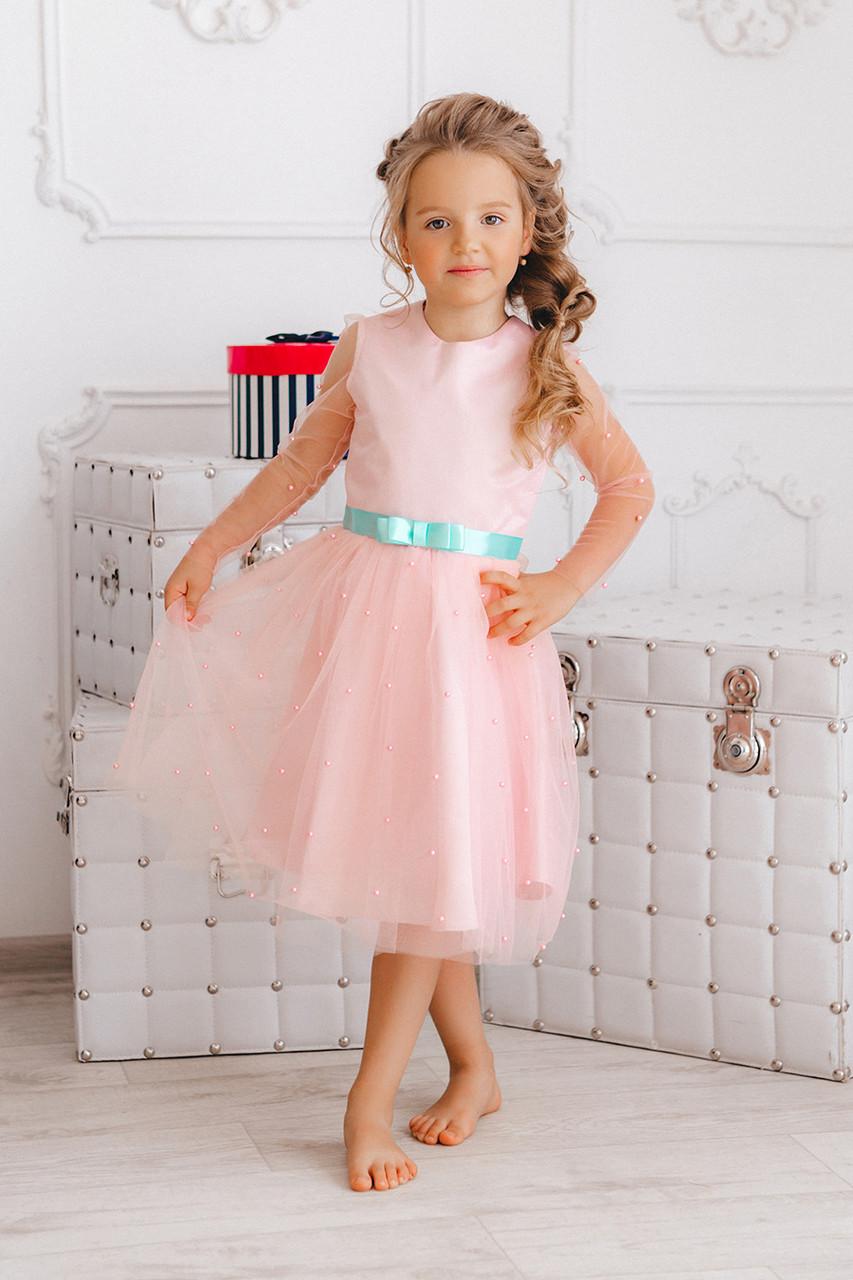 6ecaf422af2a721 Нарядное детское платье розовое из фатина с бусинами - IBERIS в Харькове