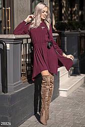 Ассиметричное платье-туника бордового цвета с брошью