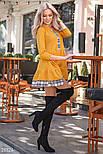 Желтое трикотажное платье-мини свободного кроя, фото 2