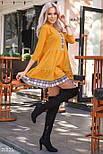 Желтое трикотажное платье-мини свободного кроя, фото 3