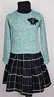 Детское платье в клеточку Лили 104-122 мята + черный