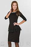 Офисное платье-миди черного цвета с баской, фото 2