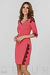 Платье-футляр розового цвета с кружевной отделкой, фото 2