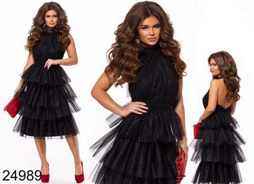 da78a23c310e363 Вечернее черное платье с открытой спиной 824989 - СТИЛЬНАЯ ДЕВУШКА интернет  магазин модной женской одежды в
