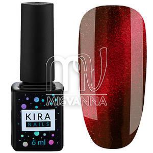 Гель лак Kira Nails кошачий глаз №001, 6 мл красный