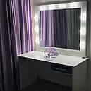 Гримерный столик с зеркалом и лампами, столик для макияжа с боковым ящиком, фото 2
