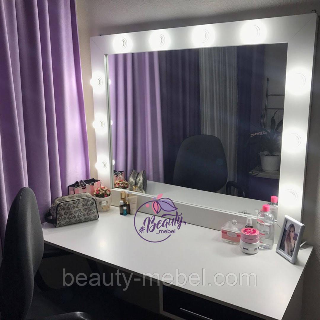 Гримерный столик с зеркалом и лампами, столик для макияжа с боковым ящиком