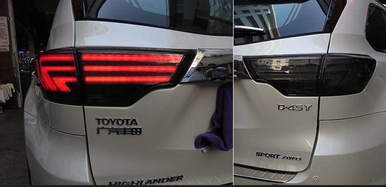 Диодные фонари LED тюнинг оптика Toyota Highlander XU 50 стиль Лексус (тонированные)