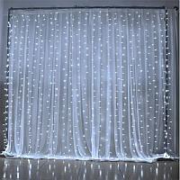 Светодиодная гирлянда штора водопад LED 240 лампочек с коннектором: размер 3,5х1,5м, белый цвет