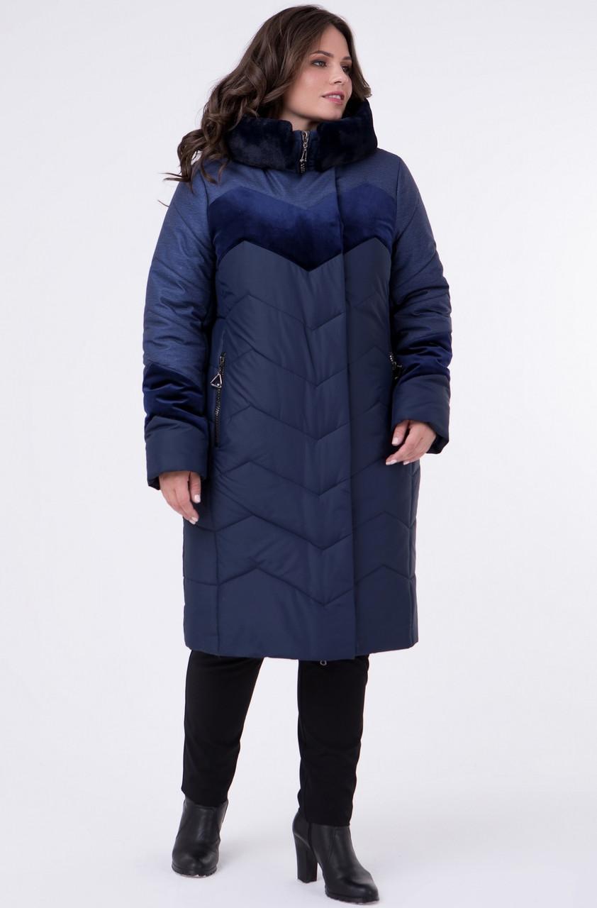 5173db130d875 Зимняя куртка женская больших размеров теплая (батал), с велюром синяя,  цена 1 984 грн., купить в Вышгороде — Prom.ua (ID#804649249)