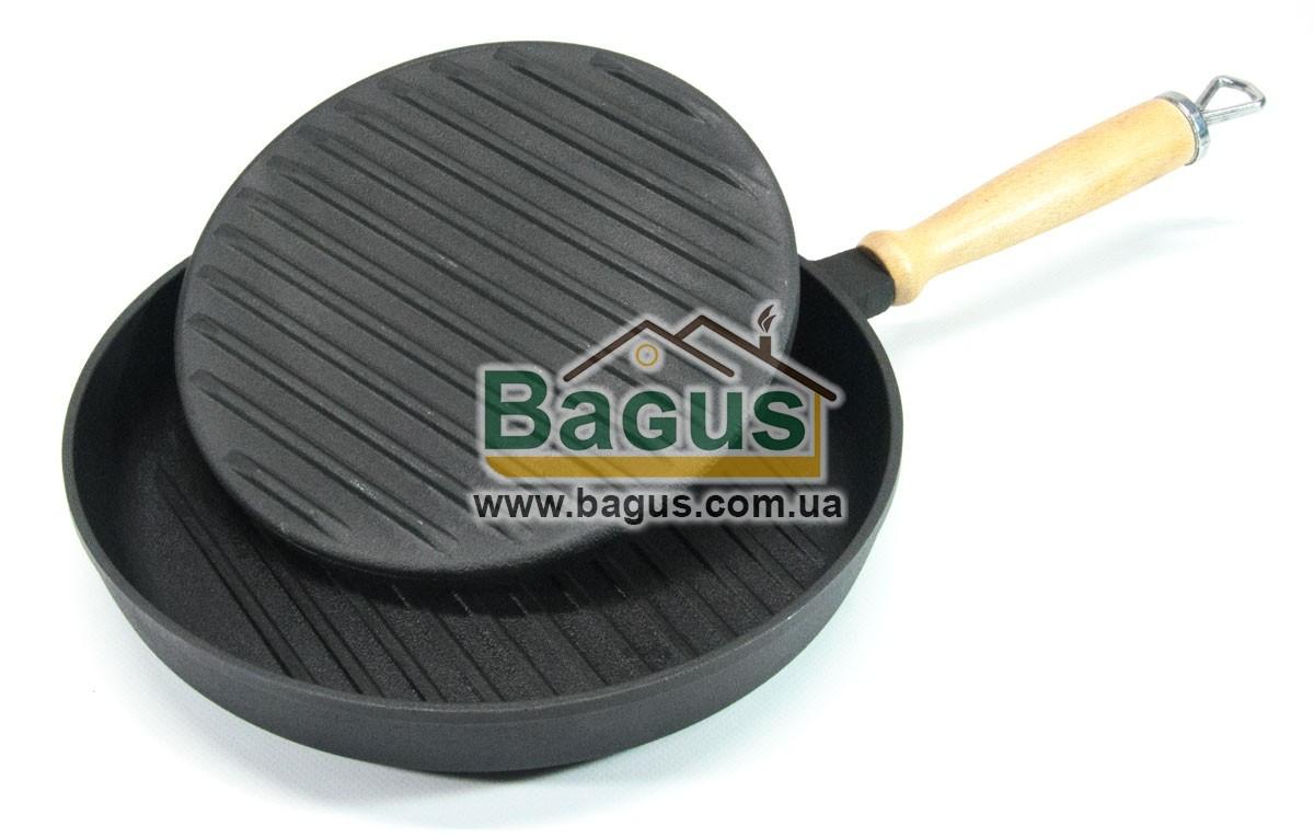 Сковорода чавунна гриль 260х40мм кругле з дерев'яною ручкою і притиском 21,5 см 2кг Эколит 2640ГДРП-1