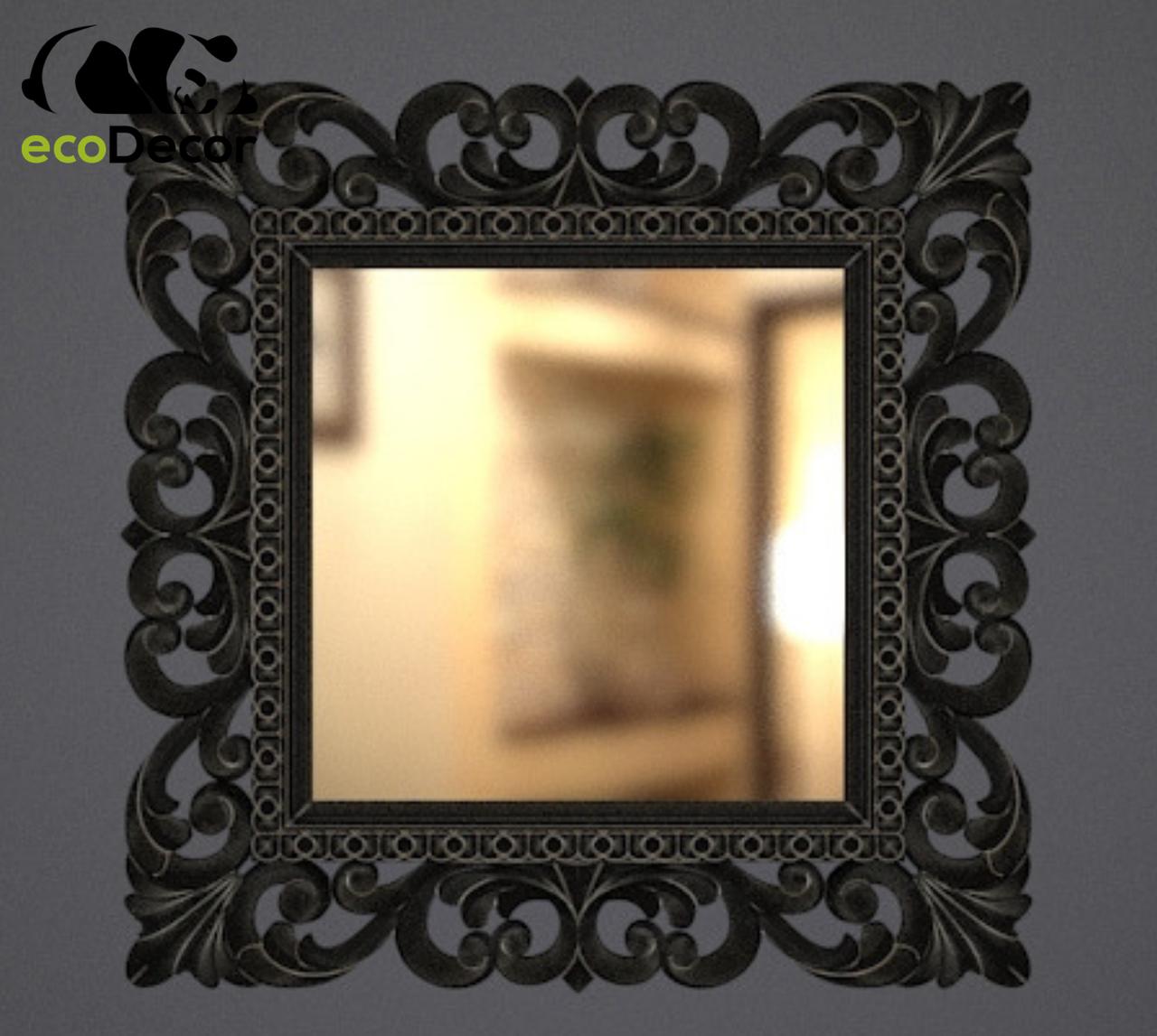 Зеркало настенное Ababa в черной с белым раме
