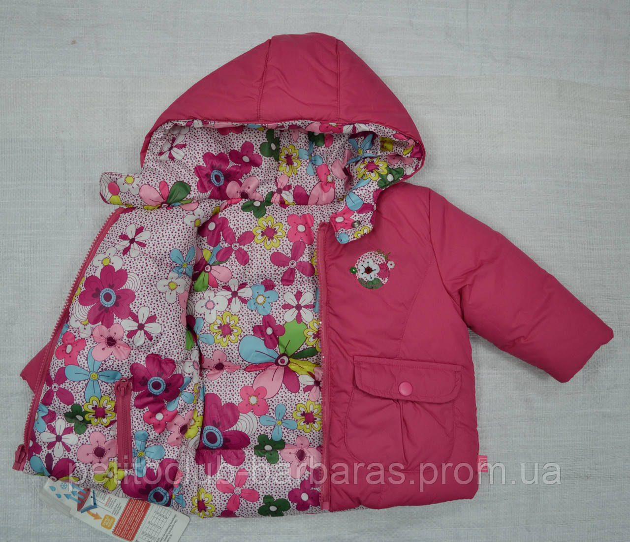Куртка зимняя для девочки 2-сторонняя розовая (р.80-98 см) (QuadriFoglio, Польша)