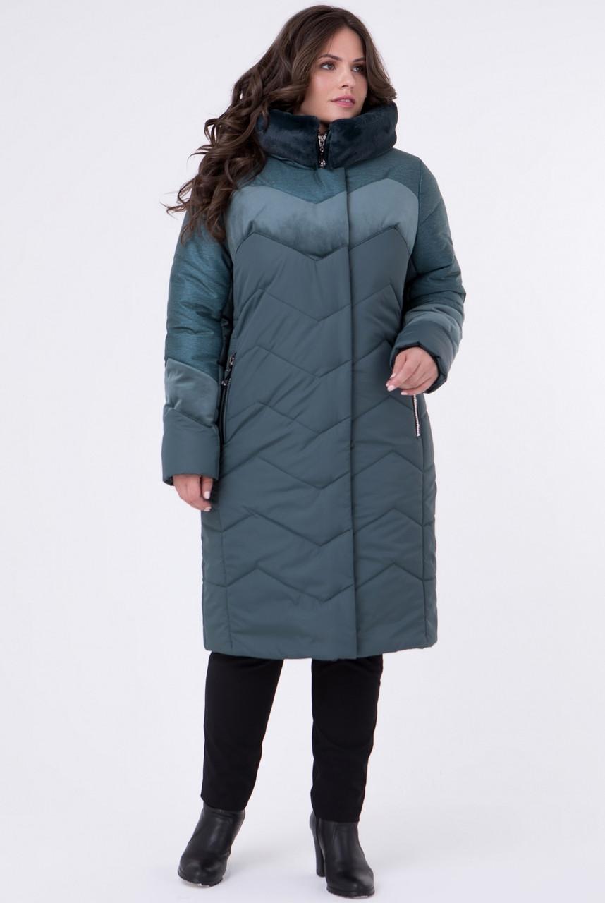 Зимняя куртка женская больших размеров теплая (батал), с велюром зеленая