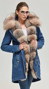 Зимняя женская парка джинс ML бежевый мех