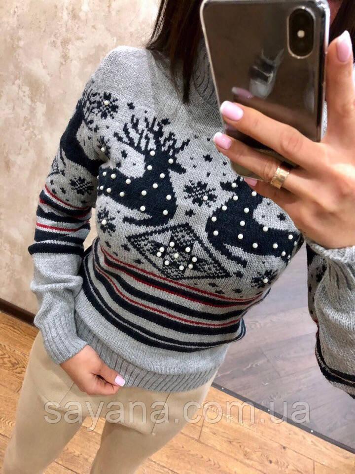 Женский вязаный свитер с рисунком в расцветках, Турция. Н-9-1018