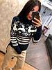 Женский вязаный свитер с рисунком в расцветках, Турция. Н-9-1018, фото 3