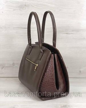 eb3849e173a1 Каркасная женская сумка Виржини коричневого цвета со вставками коричневый  крокодил, фото 2