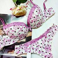 Комплект женского нижнего белья от Kleo .Модель MON AMOUR. Розовые горошки  на белом фоне bccaaecd30950