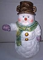 Игрушка новогодняя. Статуетка. Гіпсова фігурка. Сніговик з відром