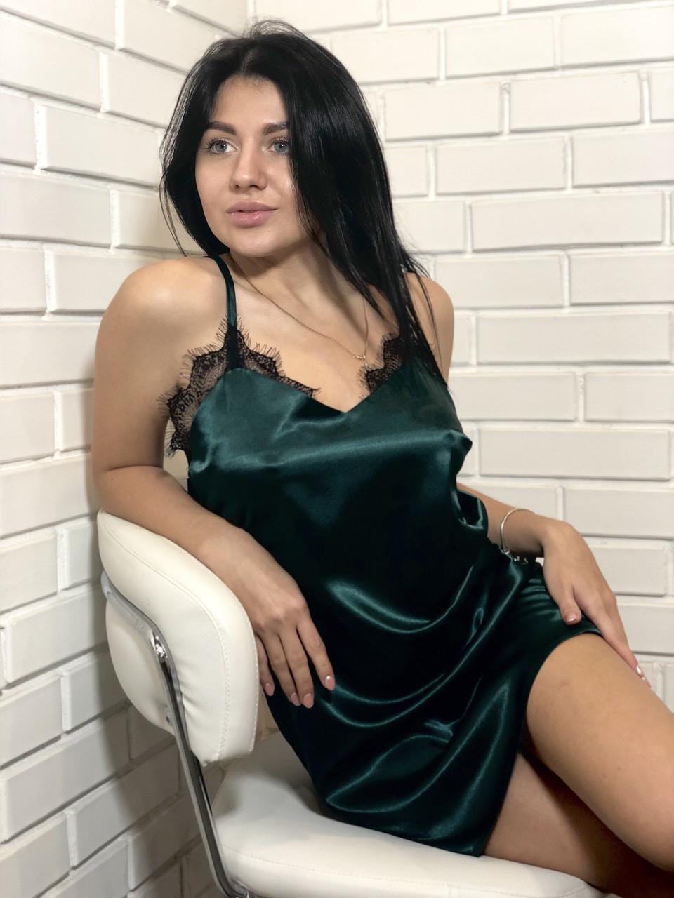 Изящный пеньюар изумрудного цвета на тонких бретелях, женская одежда для дома  ТМExclusive