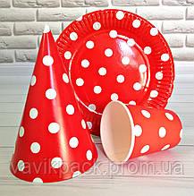 Набор одноразовой посуды для праздника красный ГОРОХ