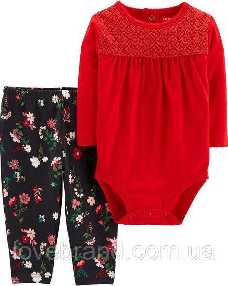 """Набор для девочки Carter's боди + штанишки """"Новогодний"""" красный"""