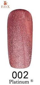 Гель-лак F.O.X. 6 мл Platinum 002 розовый перламутровый металлик