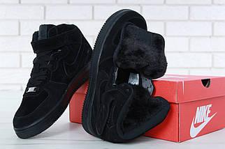 """Зимние мужские кроссовки Nike Air Force 1 Mid """"Black"""" c мехом, nike air force high, фото 3"""